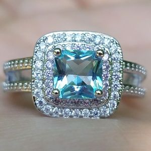 NEW Silver Blue Princess Cut Double Pink Halo Ring